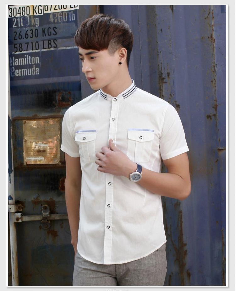 พรีออเดอร์ เสื้อเชิ้ตแฟชั่นเกาหลีสำหรับผู้ชาย แขนสั้น เก๋ เท่ห์ - Preorder Men Korean Hitz Slim Short-sleeved Shirt