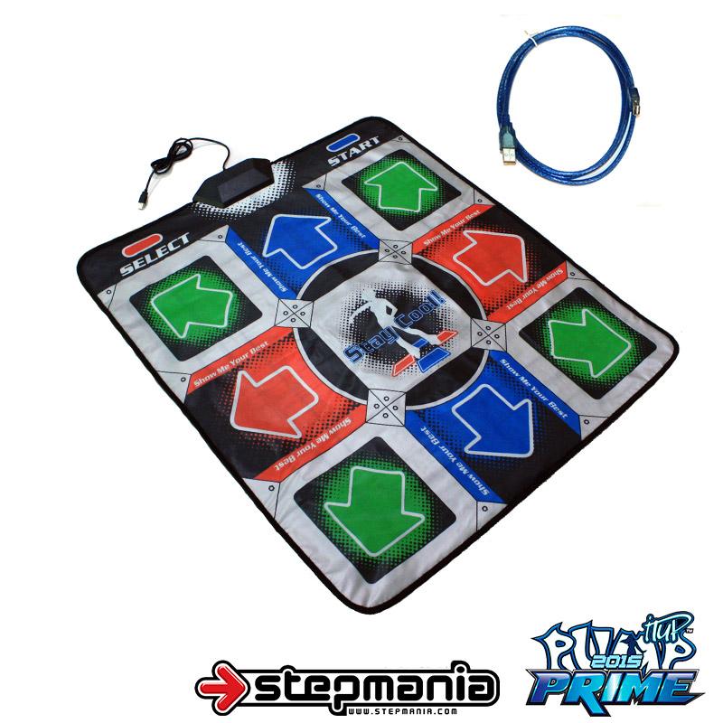 แผ่นเต้นต่อคอมพิวเตอร์ 11 Key Function มีปุ่มกลางเล่นเกมส์เต้น Pump it up ได้ (สีเทา) พร้อมสายต่อ USB 3.0 เมตร