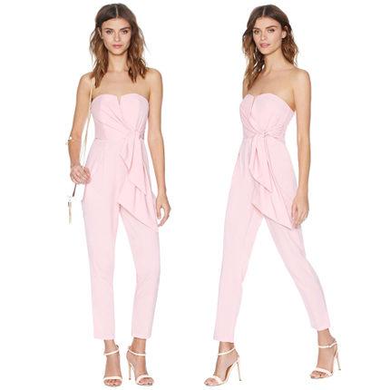 **พรีออเดอร์** ชุดเดรสกางเกงผู้หญิงแฟชั่นยุโรปใหม่ แขนกุด สีหวาน เปิดหลัง แบบเก๋ เท่ห์ / **Preorder** New European Fashion Slim Tight Fitting V- Neck Sleeveless Backless Pants Dress