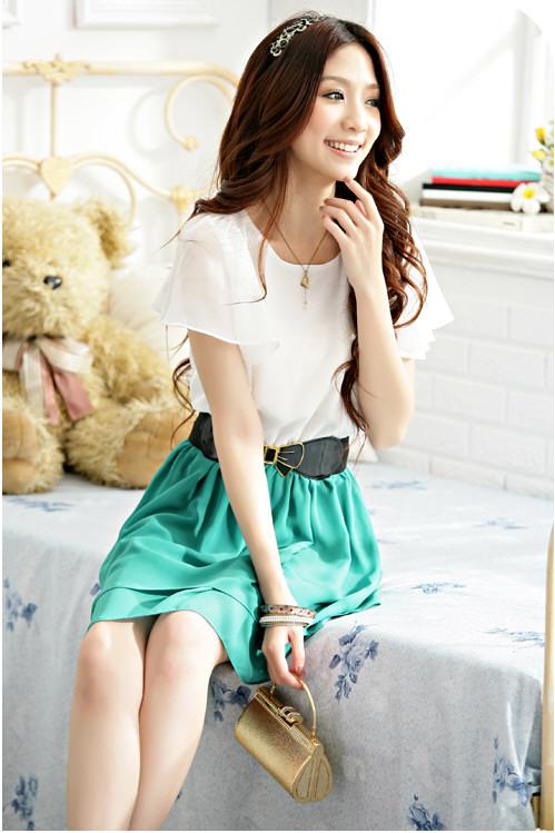 [พรีออเดอร์] ชุดเดรสชีฟองผู้หญิงแฟชั่นเกาหลีใหม่ แบบหวานเก๋ - [Preorder] New Korean Fashion Sweet Summer Round Neck Dress