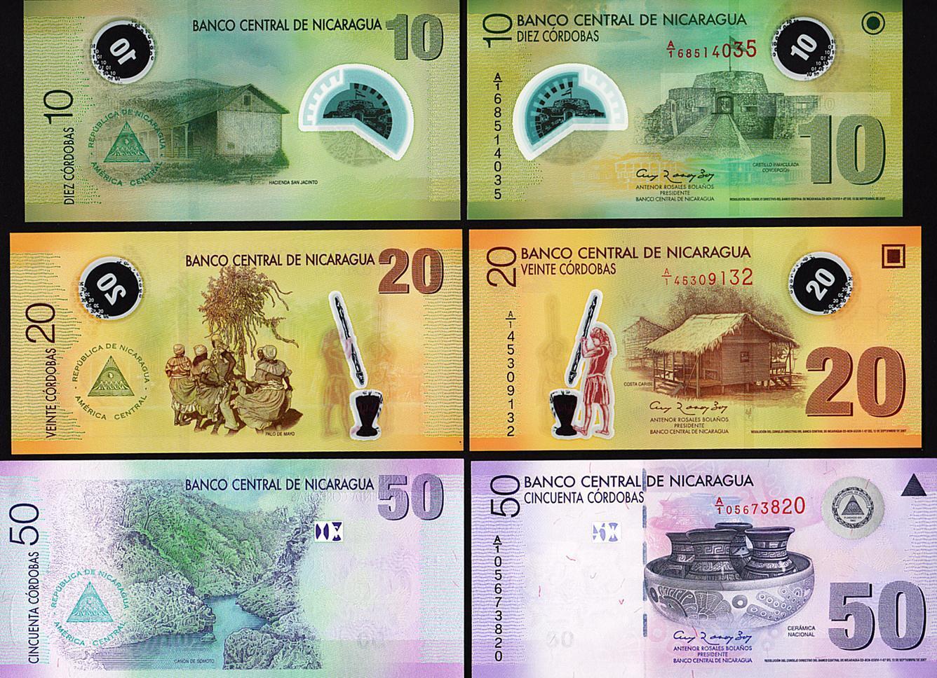 ธนบัตรประเทศนิการากัว เซ็ท 3 ใบ NICARAGUA 3 PCS SET 10 20 50 CORDOBAS 2007 UNC