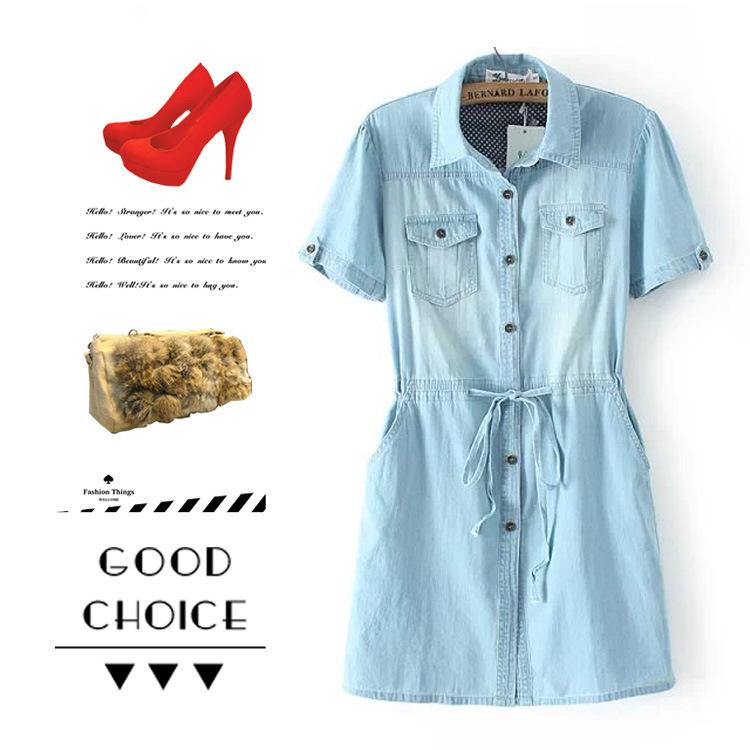 **พรีออเดอร์** ชุดเดรสยีนส์ผู้หญิงแฟชั่นยุโรปใหม่ แขนสั้น แบบเก๋ เท่ห์ / **Preorder** New European Fashion Short-Sleeved Denim Dress