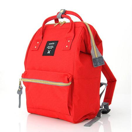 กระเป๋าเป้ Anello Canvas Red (Standard) ผ้าโพลีเอสเตอร์แคนวาส กันน้ำ