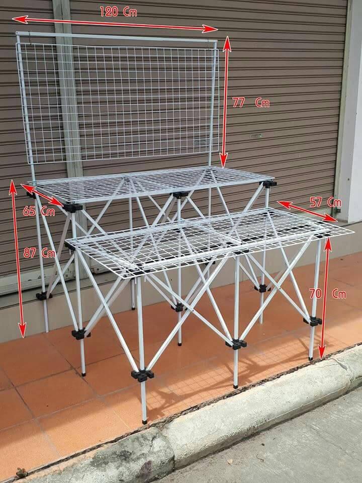 Setโต๊ะยืดหด2ชั้นสีพร้อมตะแกรง60*120ซม.