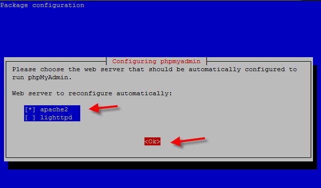 phpmyadmin choose webserver