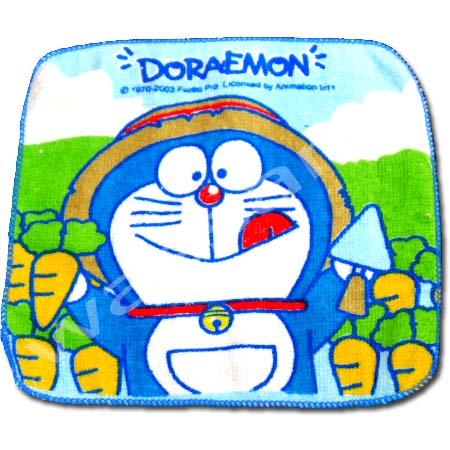 ผ้าเช็ดหน้า สีฟ้า ลาย Doraemon กับแครอท