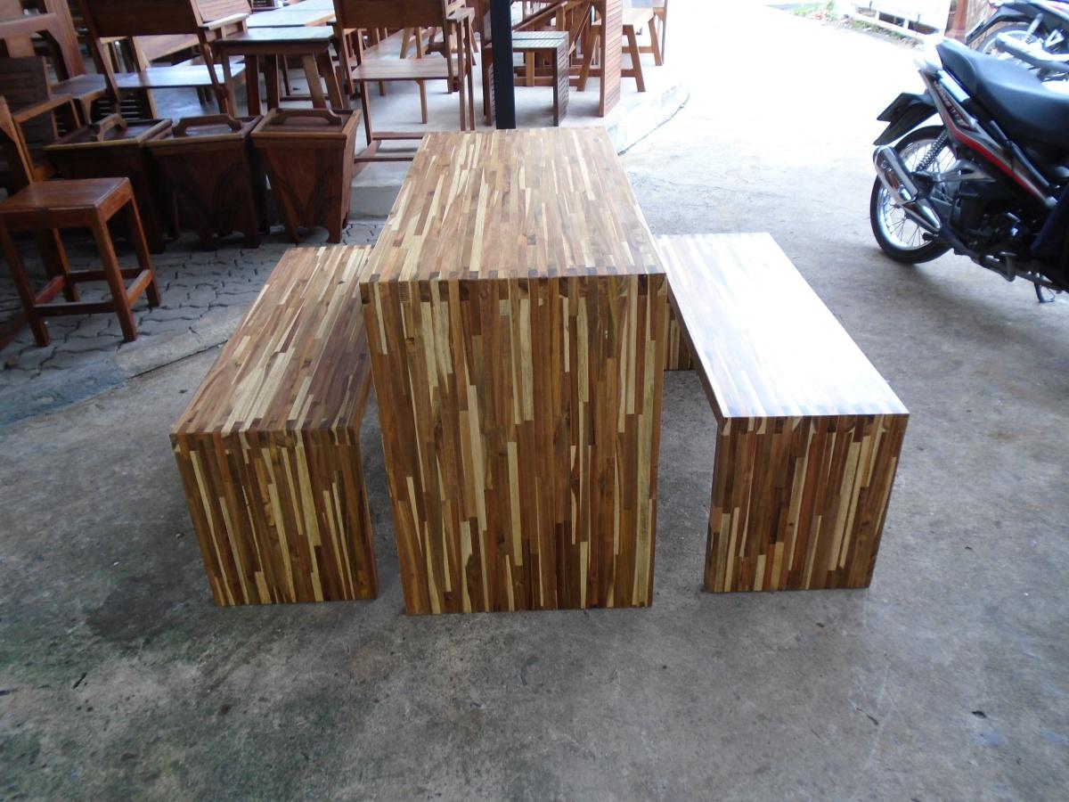 ชุดโต๊ะนั่งเล่นโมเดิร์น 120 ม้านั่ง 2 ตัว