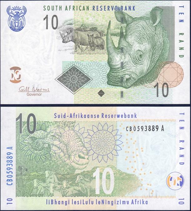 ธนบัตรประเทศ แอฟริกาใต้ ชนิดราคา 10 RAND (แรนด์) รุ่นปี พ.ศ.2548 (ค.ศ.2005)