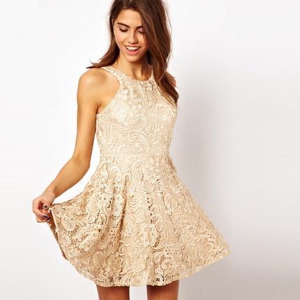 **พรีออเดอร์** ชุดเดรสผู้หญิงแฟชั่นยุโรปใหม่ ลูกไม้ แบบเก๋ เท่ห์ / **Preorder** New European Lace Stitching Fashion Slim Sexy Mini Dress