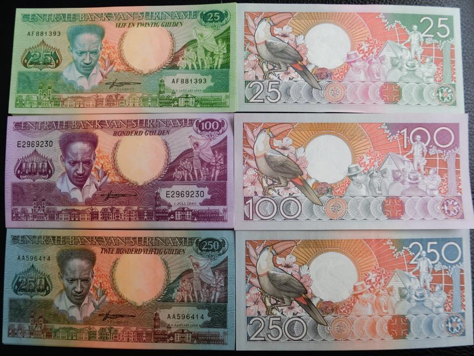 ธนบัตรประเทศ ซูรินาเม เช็ท 3 ใบสภาพใหม่เอี่ยมไม่ผ่านการใช้งาน (UNC)