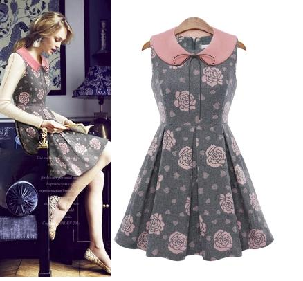 **พรีออเดอร์** ชุดเดรสผู้หญิงแฟชั่นยุโรปใหม่ แขนกุด สวยหวานลายดอกกุหลาบ แบบเก๋ เท่ห์ / **Preorder** New European Fashion Slim Rose Ruili Doll Collar Sleeveless Dress