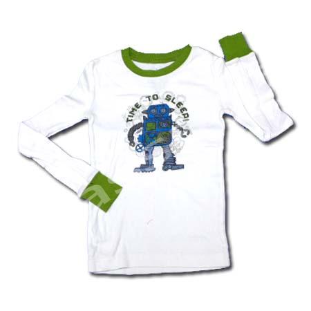 เสื้อ สีขาว-เขียว ลาย Robot S8T