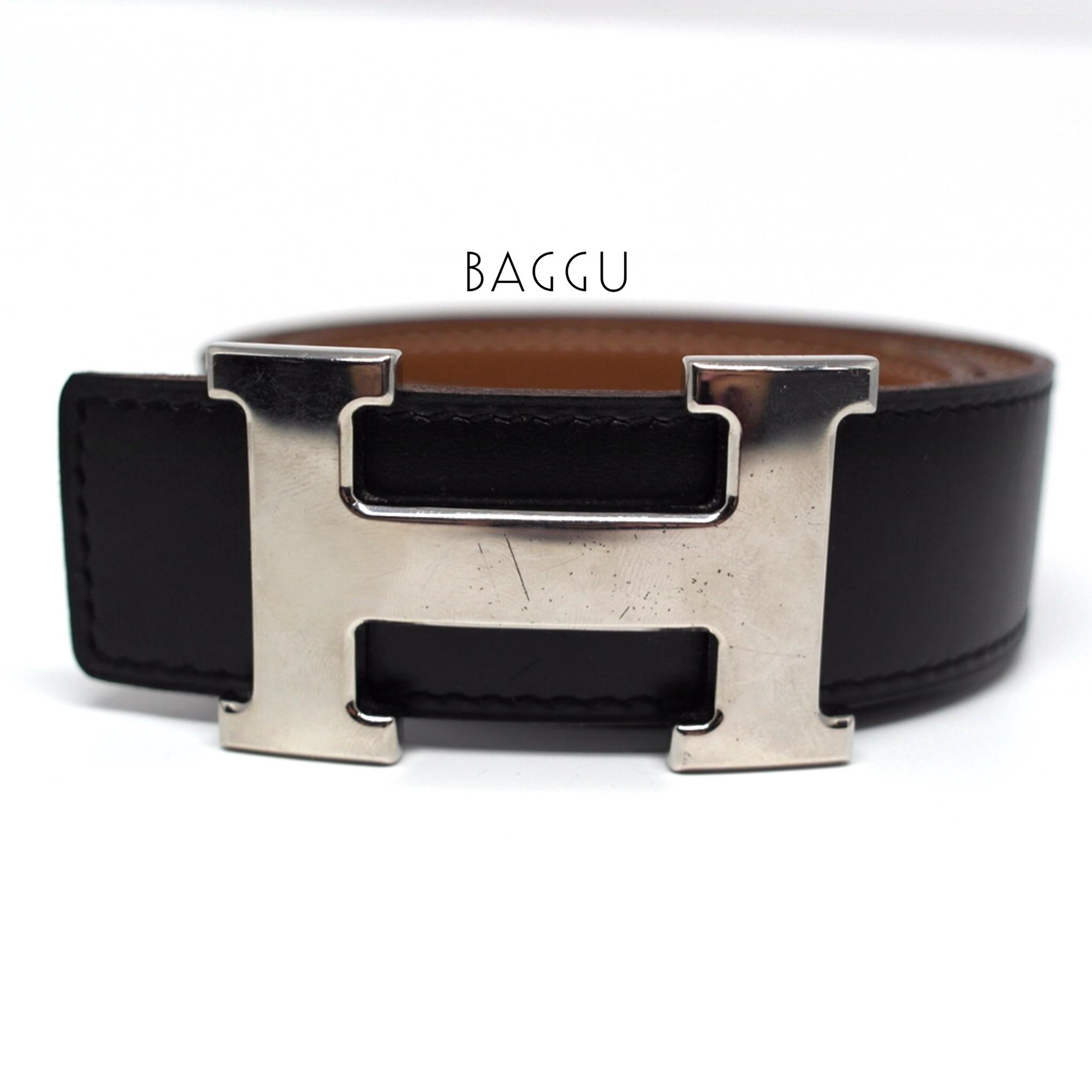 (SOLD OUT)HERMES Belt Black/Tan Togo Size 80