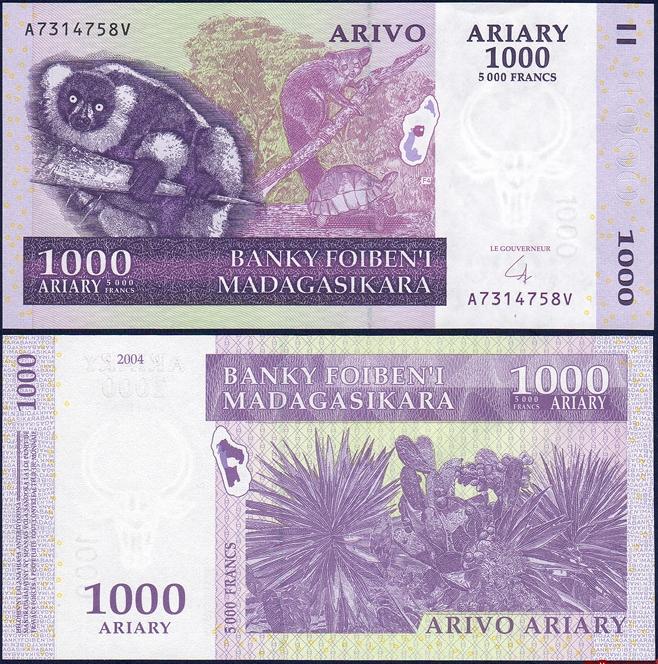 ธนบัตรประเทศ มาดากัสการ์ ชนิดราคา 1,000 Ariary (อเรียรี่) [5,000 Francs] รุ่นปี พ.ศ.2547 (ค.ศ.2004)