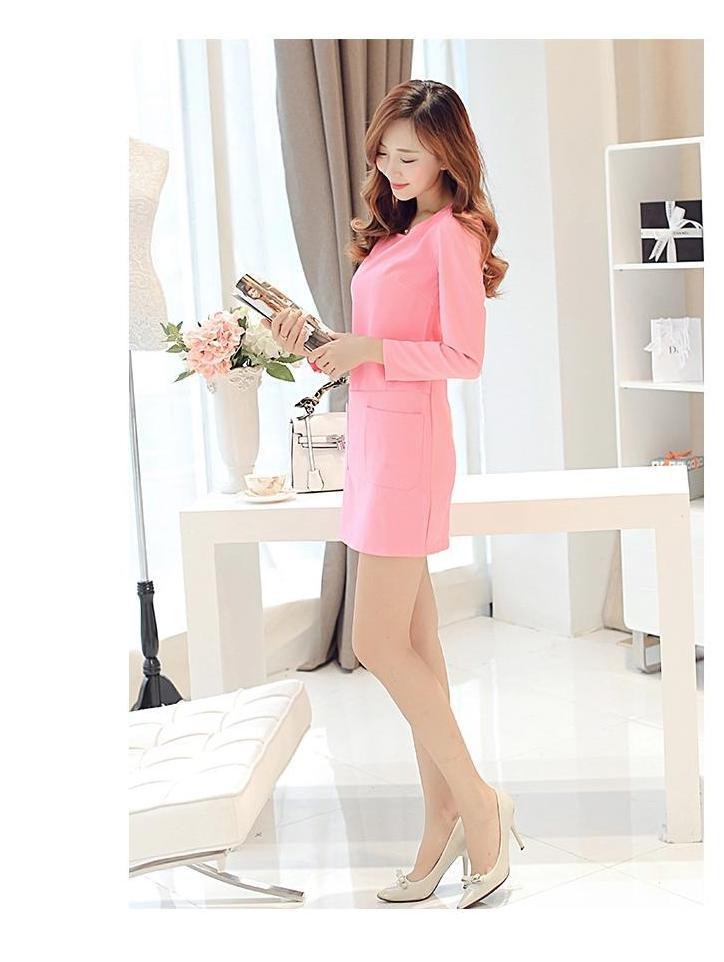[พรีออเดอร์] ชุดเดรสผู้หญิงแฟชั่นเกาหลีใหม่ แขนยาวพร้อมกระเป๋าสุดเก๋ เท่ห์ - [Preorder] New Korean Fashion Slim with Pockets Long-sleeved Dress