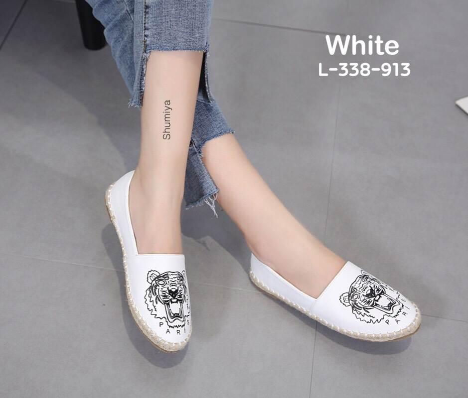 รองเท้าคัทชู ทรง slip on แต่งลายเสือสไตล์เคนโซ่ หนังนิ่ม พื้นนิ่ม งานสวย ใส่สบาย แมทสวยได้ทุกชุด (L-338-913)
