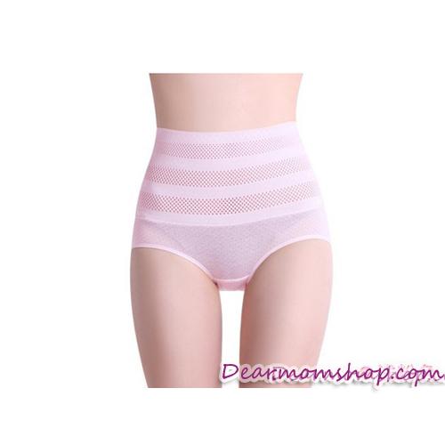กางเกงในกระชับหน้าท้องหลังคลอดสีชมพูลายจุดสีเทา
