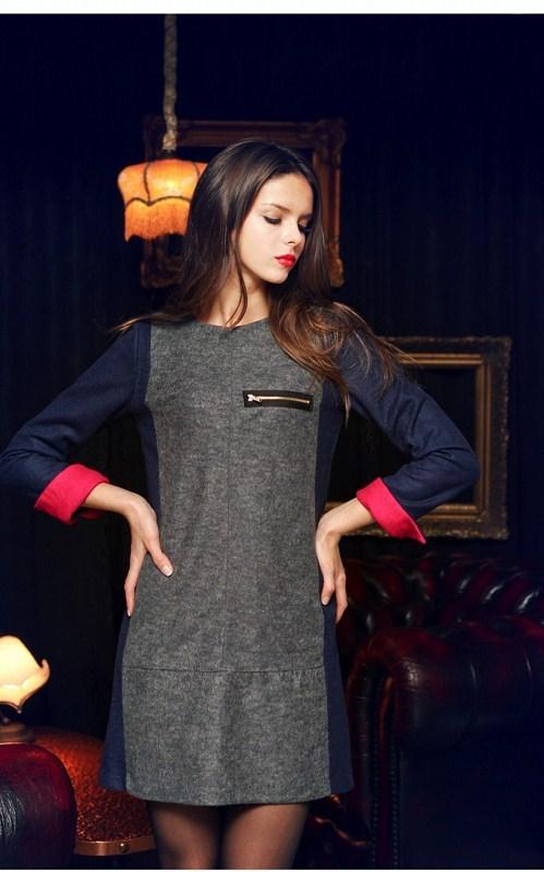 **พรีออเดอร์** ชุดเดรสผู้หญิงแฟชั่นยุโรปใหม่ แขนยาว แบบเก๋ เท่ห์ / **Preorder** New European Fashion Round Neck Long-Sleeved Dress