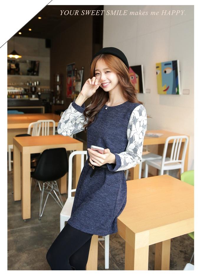 [พรีออเดอร์] เสื้อเดรสแฟชั่น Orange Bear แขนยาวลูกไม้ คอกลม เสื้อตัวยาว เก๋ น่ารัก - [Preorder] Women ฺHitz Korean version Orange Bear of Round Neck LaceLong-sleeved Dress
