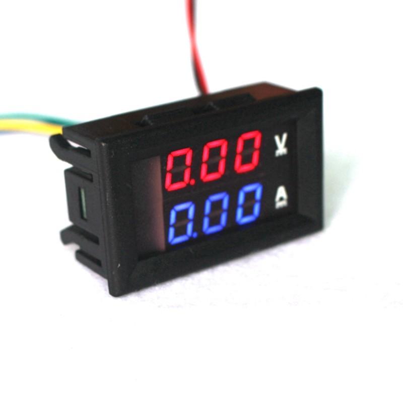 """DC 0-100V 10A Digital Voltmeter Ammeters Dual display Voltage Current Meter Panel Amp Volt Gauge 0.28"""" Red Blue LED"""