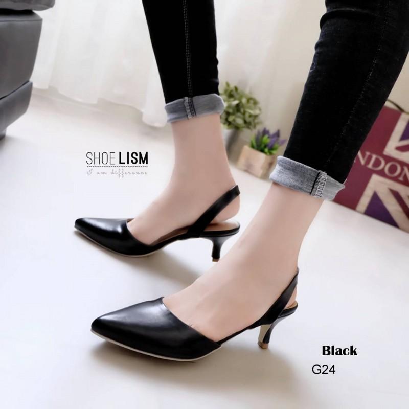 รองเท้าคัทชู ส้นเตี้ย รัดส้น หัวแหลม หนังนิ่ม สไตล์ ZARA สวยชนช็อป สูง 2 นิ้ว น้ำหนักเบา แมทกับชุดไหนก็ง่าย งานขายดีใส่ได้ไม่มีเอาท์ แมทสวยได้ทุกชุด (G24-07)