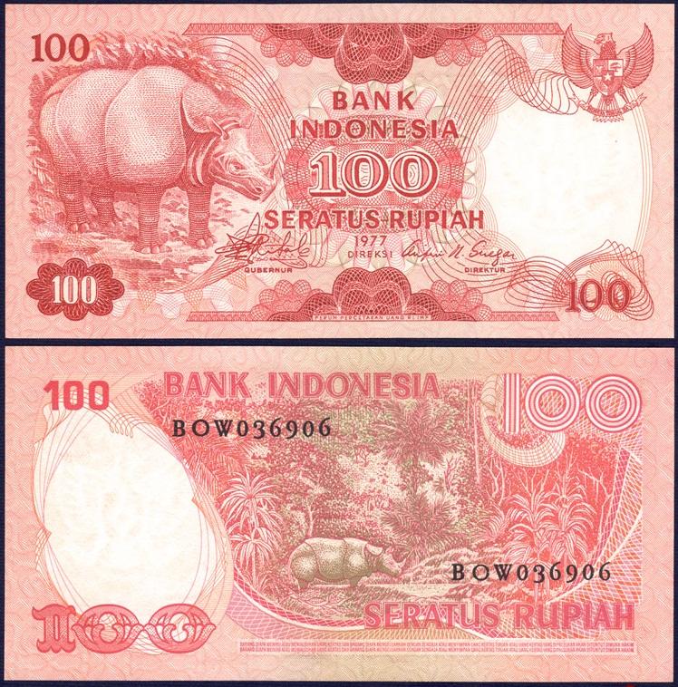 ธนบัตรประเทศ อินโดนีเซีย ชนิดราคา 100 RUPIAH (รูเปีย) รุ่นปี พ.ศ. 2520 หรือ ค.ศ. 1977 รูปแรดชวา