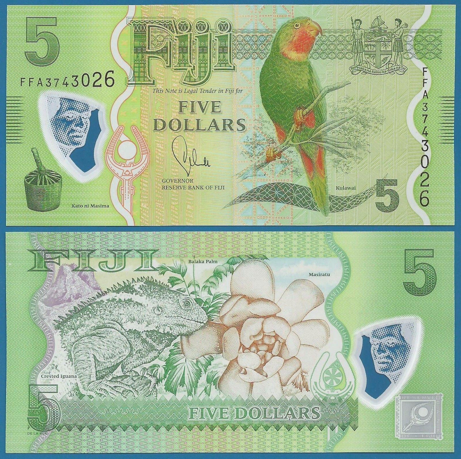 ธนบัตรประเทศ ฟิจิ ชนิดราคา 5 DOLLARS (ดอลลาร์) รุ่นปี พ.ศ.2556 (ค.ศ.2013)