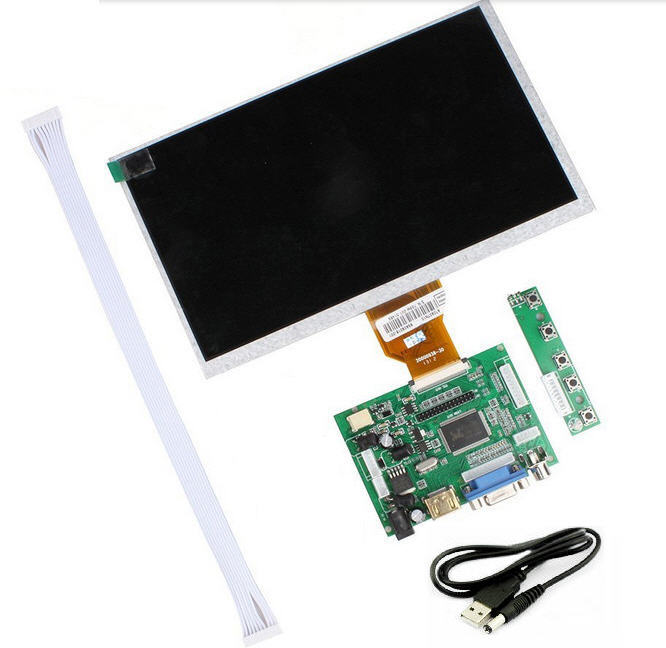 7 inch Raspberry Pi IPS LCD With HDMI VGA AV Screen Display Monitor Module With Keyboard plate
