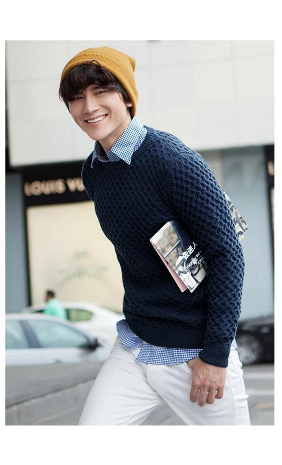 พรีออเดอร์ เสื้อกันหนาวไหมพรมแฟชั่นอเมริกา และยุโรปสไตล์ สำหรับผู้ชาย แขนยาว เก๋ เท่ห์ - Preorder Men American and European Hitz Style Slim Long-sleeved Sweater สำเนา
