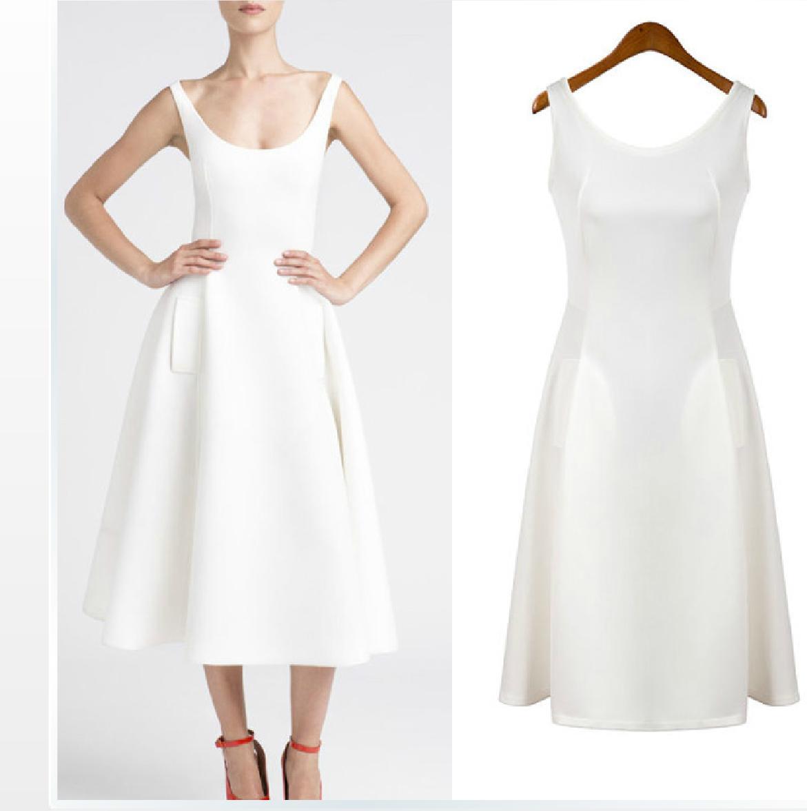 [พรีออเดอร์] ชุดเดรสผู้หญิงแฟชั่นยุโรปใหม่ สีขาว แขนกุด แบบเก๋ เท่ห์ -[Preorder] New European Fashion Slim Sleeveless Dress
