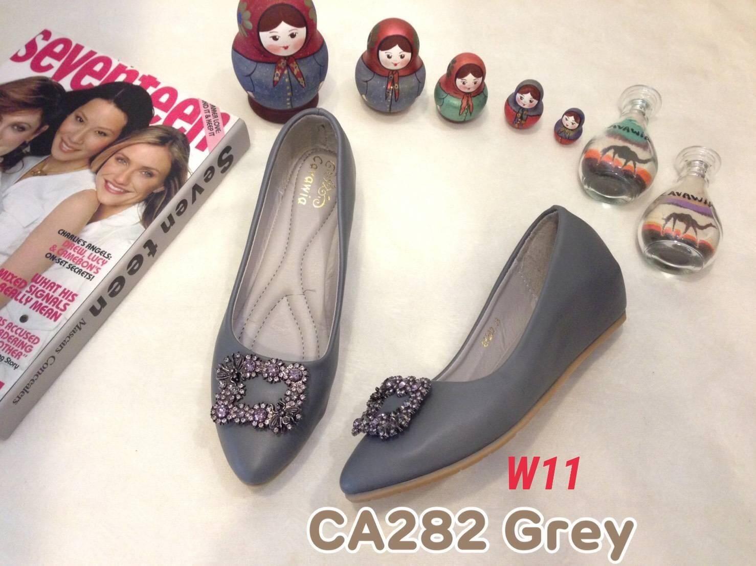 รองเท้าคัทชู ส้นเตารีด แต่งอะไหล่สวยหรู หนังนิ่ม ทรงสวย สูงประมาณ 2 นิ้ว ใส่สบาย แมทสวยได้ทุกชุด (CA282)