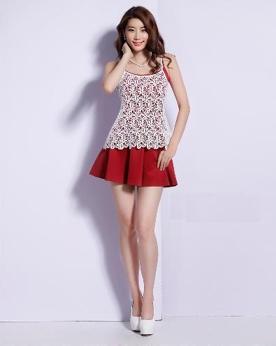 [พรีออเดอร์] ชุดเดรสผู้หญิงแฟชั่นเกาหลีใหม่ แขนกุด ลูกไม้ แบบเก๋ เท่ห์ - [Preorder] New Korean Fashion Slim Round Neck Lace Long-sleeved Dress