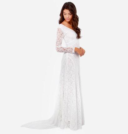 **พรีออเดอร์** ชุดเดรสผู้หญิงแฟชั่นยุโรปใหม่ แขนยาว แบบเก๋ เท่ห์ / **Preorder** New European Fashion Slim Sexy Long-Sleeved Elegant hook flower hollow Fairy Dress