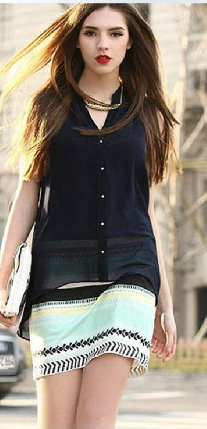 [พรีออเดอร์] ชุดเดรสชีฟองผู้หญิงแฟชั่นเกาหลีใหม่ แขนกุด คอวี แบบเก๋ เท่ห์ - [Preorder] New Korean Fashion V-Neck Sleeveless Dress