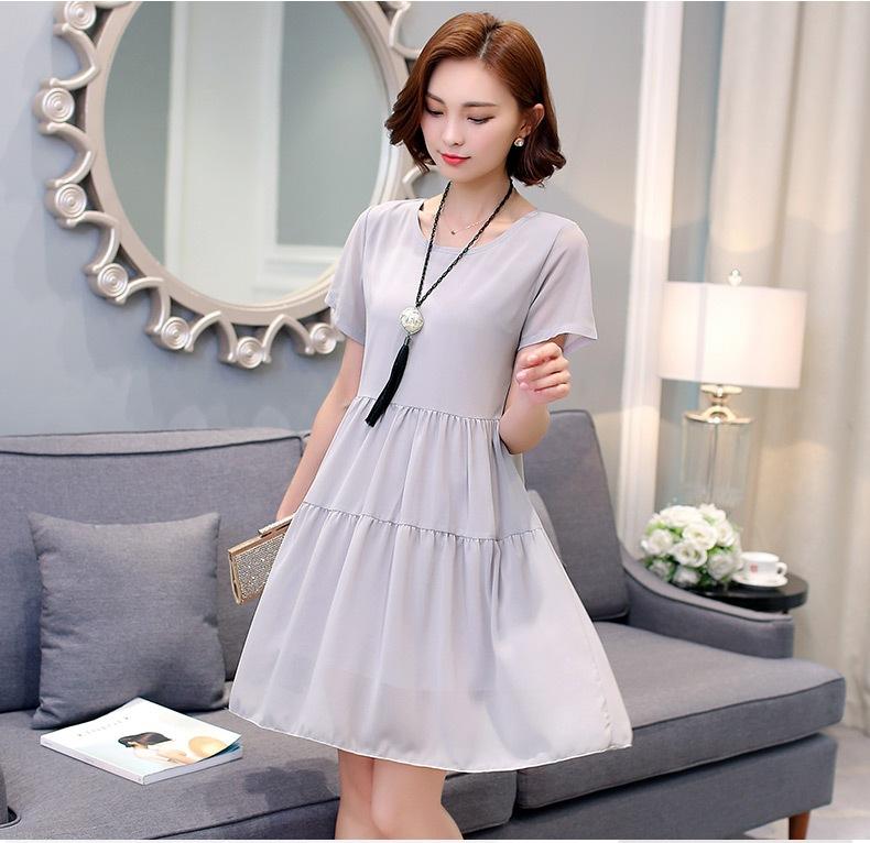 [พรีออเดอร์] เสื้้อเดรสแฟชั่นเกาหลีใหม่ แขนสั้น สำหรับผู้หญิงไซส์ใหญ่ - [Preorder] New Korean Fashion Dress Short-Sleeved for Large Size Woman
