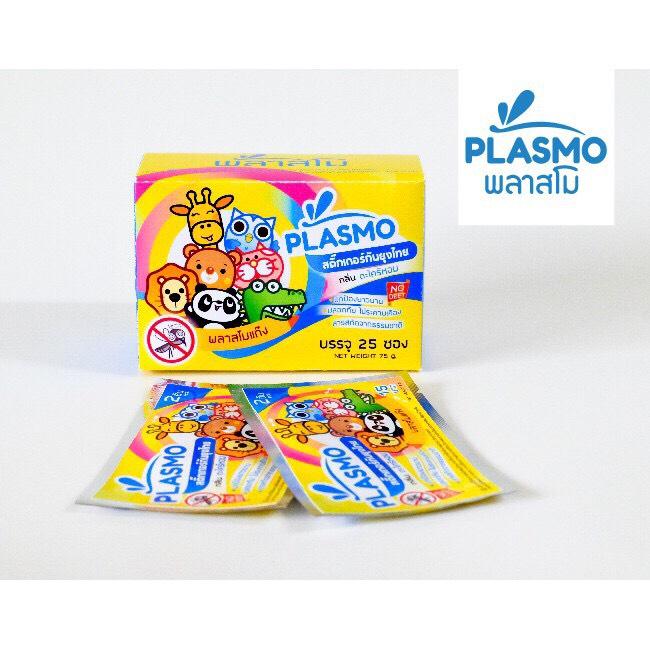 Plasmo สติ๊กเกอร์กันยุงไทย 2 ดวง (1 กล่อง/25 ซอง) ลายการ์ตูน กลิ่นตะไคร้หอม