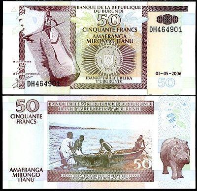 ธนบัตร ประเทศ บุรุนดี ชนิดราคา 50 FRANCS (ฟรังส์) รุ่นปี พ.ศ.2550 (ค.ศ.2007)