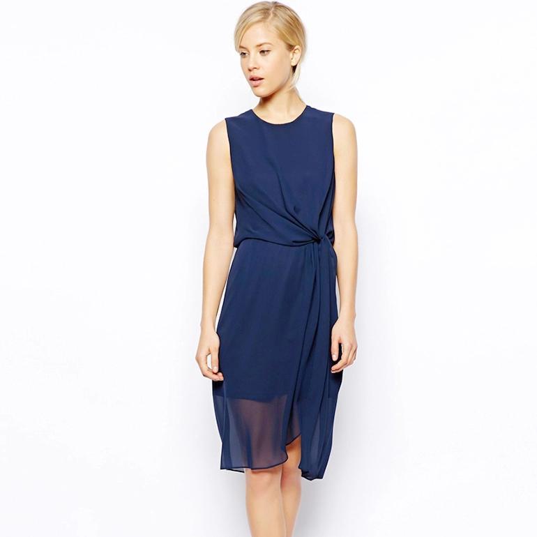 [พรีออเดอร์] ชุดเดรสผ้าชีฟองผู้หญิงแฟชั่นยุโรปใหม่ แขน แบบเก๋ เท่ห์ - [Preorder] New European Fashion Slim Twist Waist Sleeveless Chiffon Dress