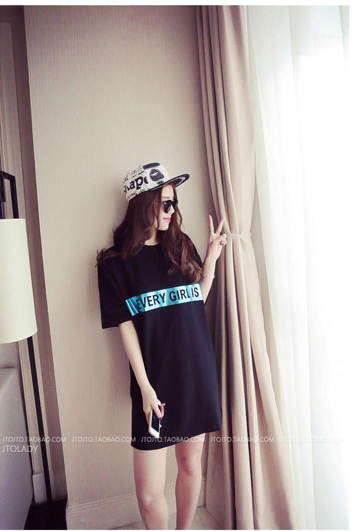[พรีออเดอร์] เสื้้อเดรสผ้ายืดแฟชั่นเกาหลีใหม่ สำหรับผู้หญิงไซส์ใหญ่ - [Preorder] New Korean Fashion Dress for Large Size Woman