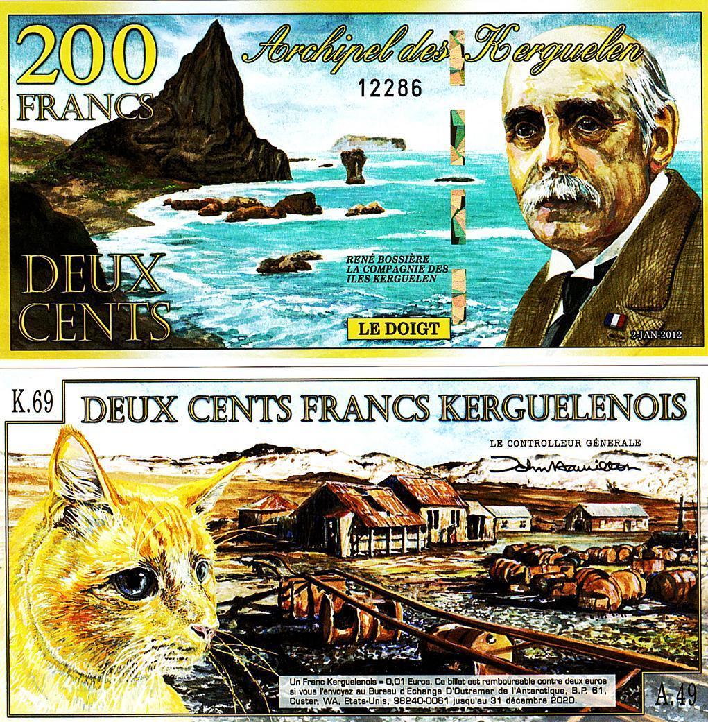 ธนบัตร หมู่เกาะเคอกูเลน 200 ฟรังค์ KERGUELEN ISLANDS 200 FRANCS 2012 UNC POLYMER