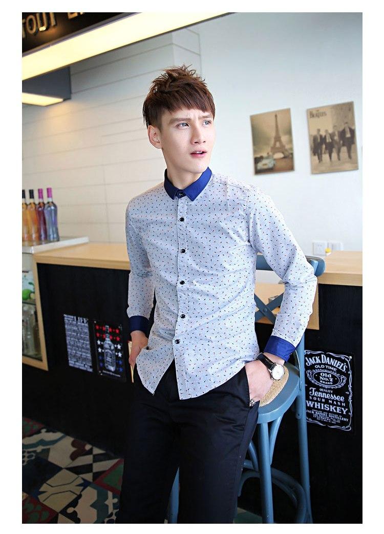 [พรีออเดอร์] เสื้อเชิ้ตทำงานแฟชั่นเกาหลีสำหรับผู้ชาย แขนยาว คอปกเล็ก เก๋ เท่ห์ - [Preorder] Men Korean Hitz Slim Long-sleeved Small Collar Shirt