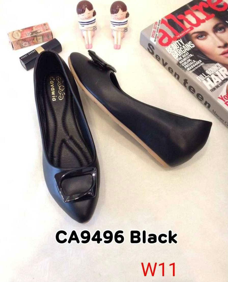 รองเท้าคัทชู ส้นเตารีด แต่งอะไหล่เรียบเก๋ ทรงสวย หนังนิ่ม ส้นสูงประมาณ 2 นิ้ว ใส่สบาย แมทสวยได้ทุกชุด (CA9496)