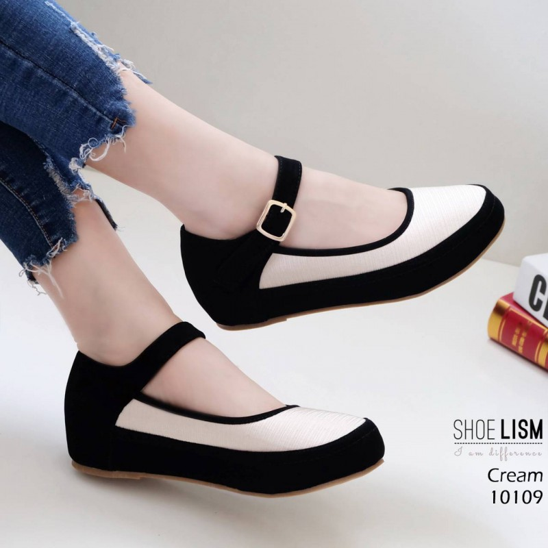 รองเท้าคัทชู ส้นมัฟฟิน สวยน่ารักมาก สายคาดหน้าเมจิกเทปใส่ง่าย หนังนิ่ม พื้นนิ่ม งานสวย สูง 1 นิ้ว ใส่สบาย แมทสวยได้ทุกชุด (10109)