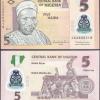 ธนบัตรประเทศ ไนจีเรีย ชนิดราคา 5 NAIRA (ไนรา) รุ่นปี พ.ศ.2554 (ค.ศ.2011)