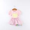 ชุดกระโปรงเด็กหญิง ตัวเสื้อสีชมพูสกรีนลายหัวใจ