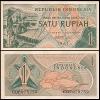 ธนบัตรประเทศอินโดนีเซีย Indonesia 1 Rupiah 1961 (พ.ศ.2504) สภาพไม่ผ่านการใช้งาน