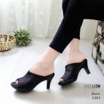 รองเท้าแฟชั่น ส้นสูง แบบสวม เต็มหน้าเท้าเรียบเก๋ดูดี หนังนิ่ม พื้นนิ่ม ทรงสวยเก็บหน้าเท้า ส้นสูง 3 นิ้ว ใส่สบาย สีดำ ครีม ชมพู แมทสวยได้ทุกชุด (2303)