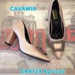 รองเท้าคัทชู ส้นสูง สวยหรู แต่งอะไหล่ด้านหน้า ส้นเหลี่ยมเพิ่มความเก๋ พื้นบุ นิ่ม ใส่สบาย แมทสวยได้ทุกชุด สูงประมาณ 3 นิ้ว (CA8123)