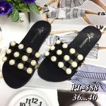 รองเท้าแตะแฟชั่น แบบสวม สวยหรู หนังสานตารางแต่งมุกเก๋มาก วัสดุอย่างดี งานนำเข้า ใส่สบาย แมทสวยได้ทุกชุด (PL-588)