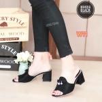 รองเท้าแฟชั่น ส้นสูง แบบสวม แต่งโบว์เพชรด้านหน้า ทรงสวยเก็บเท้า เรียบเก๋ ใส่สบาย ส้นตัด สูงประมาณ 2.5 นิ้ว แมทเก๋ได้ทุกชุด (MX4016)